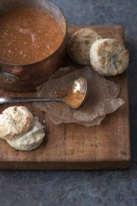 Roasted Tomato and Eggplant Bisque with Dill Ricotta Biscuits