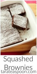 Pinterest image for Squashed Brownies with text