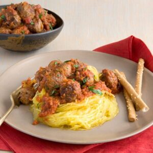 Close up image of Spaghetti Squash and Meatballs