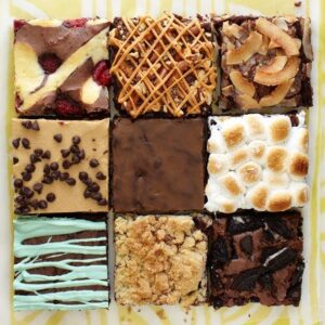Think Outside of the box brownies in square
