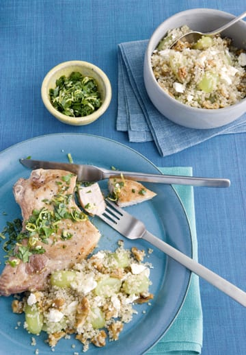 Pork Chops with Lemon-Parsley and Grape Walnut Quinoa