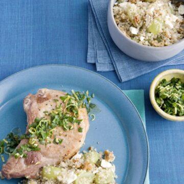 Pork Chops with Lemon Parsley and Grape Walnut Quinoa