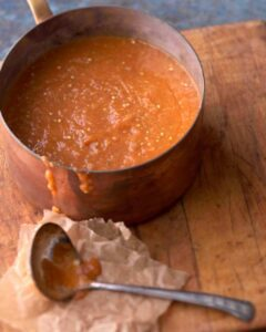 Roasted Tomato and Eggplant Bisque in copper pot