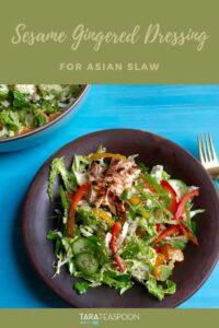Asian Slaw with Sesame Gingered Dressing Pinterest Pin