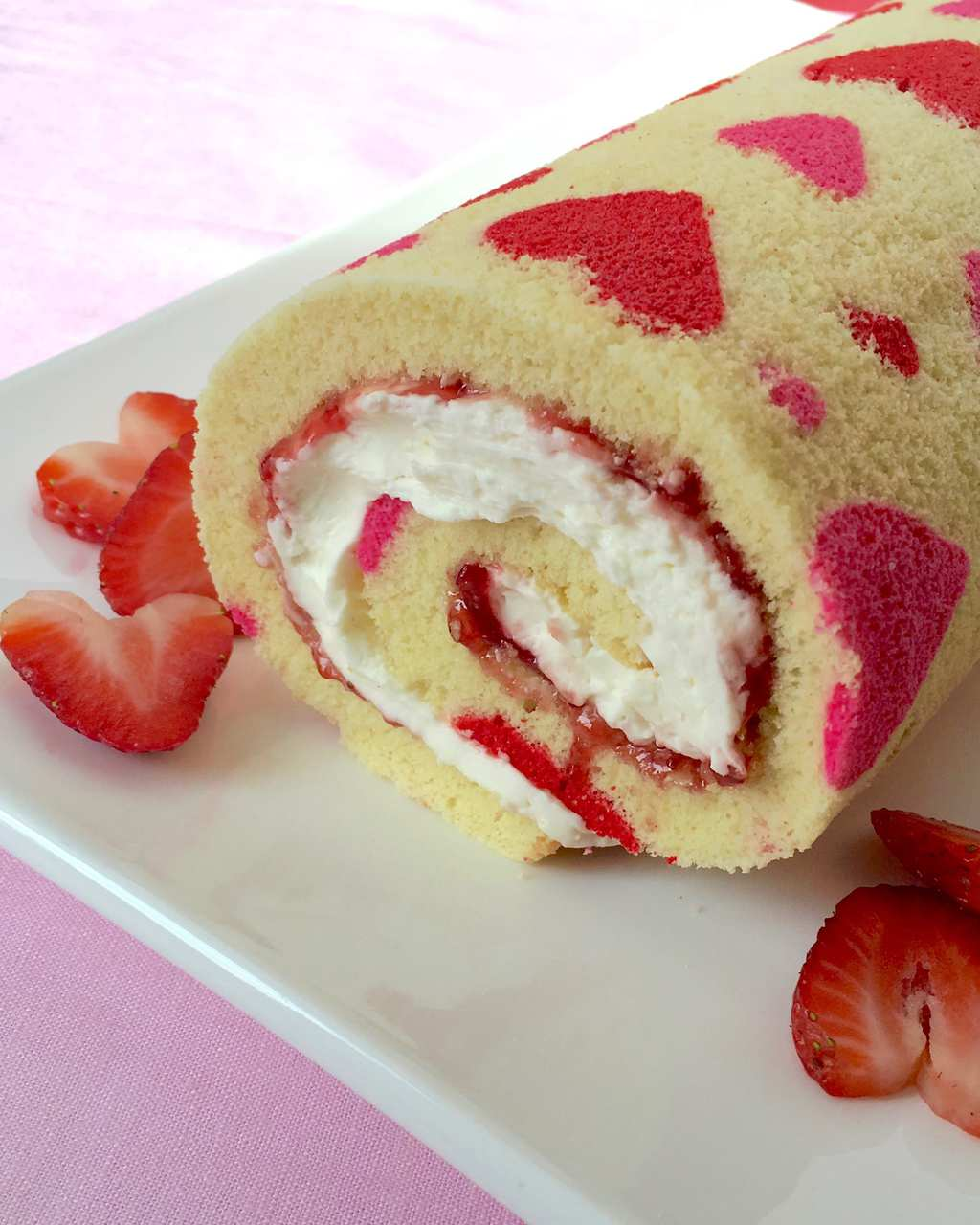 Valentine's Day Strawberry Cake Roll
