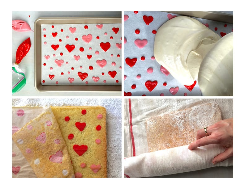 Making Valentine's Day Strawberry Cake Roll