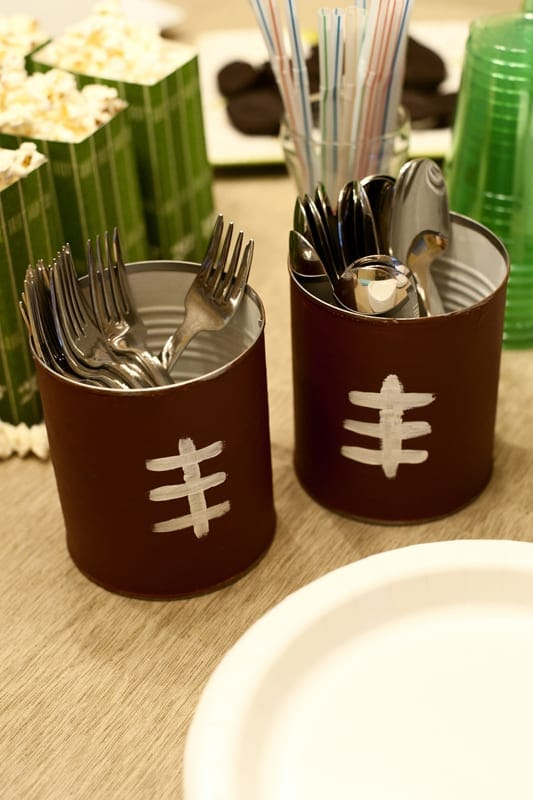 Rust and Sunshine Super Bowl Football Silverware Caddies