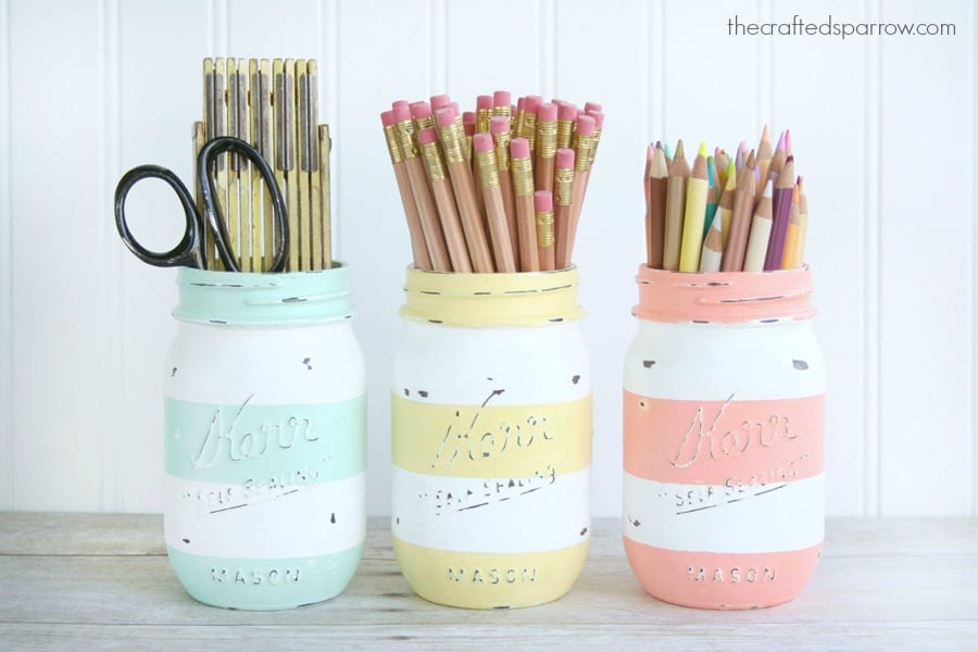 The Crafted Sparrow Striped Mason Jar