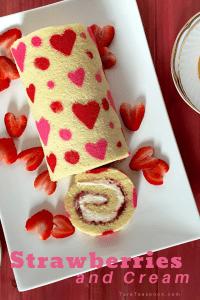 valentines strawberries and cream roll cake pin