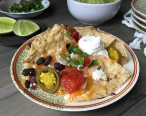 Lcose up image of Nachos on plate