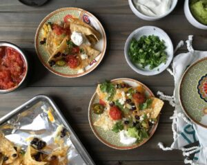 Nachos for a Party with toppings