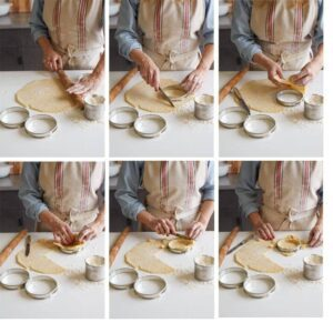 Step by step images of individual tart crust preparation