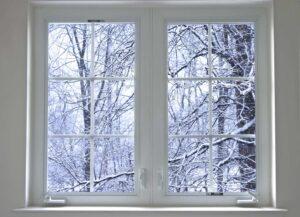 Winter scene seen through window