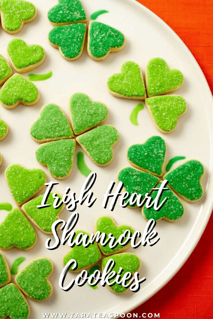Shamrock Cookies on White Plate Pin