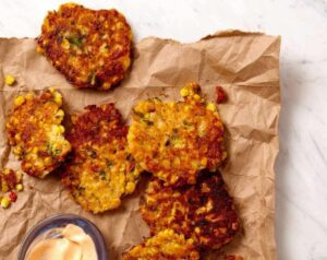 Close up of Corn and Cheddar Fritters