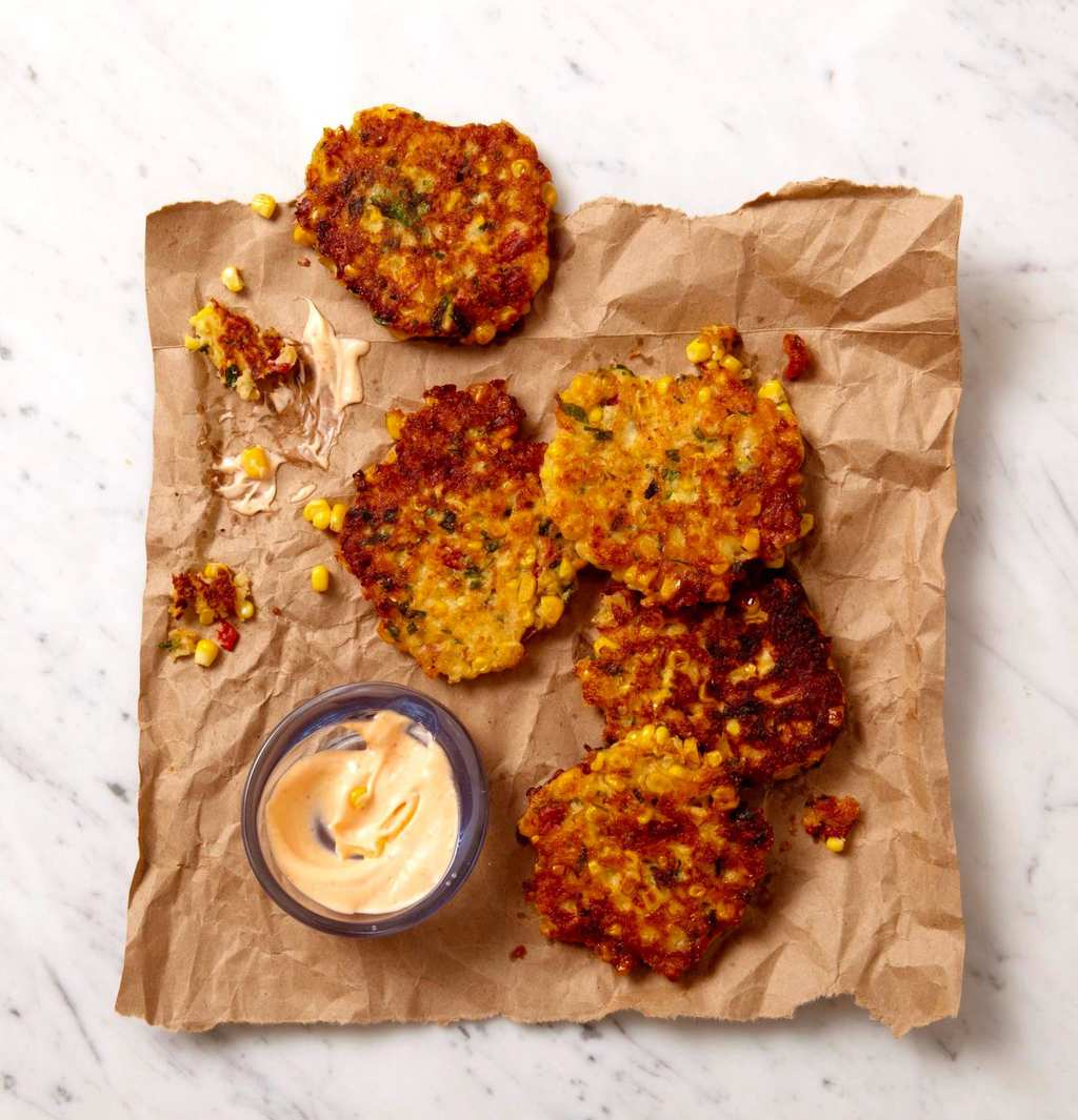 corn fritters dipped with spicy mayo