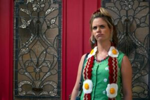 Kimmy Gibbler actress wearing a Bacon and Eggs Scarf
