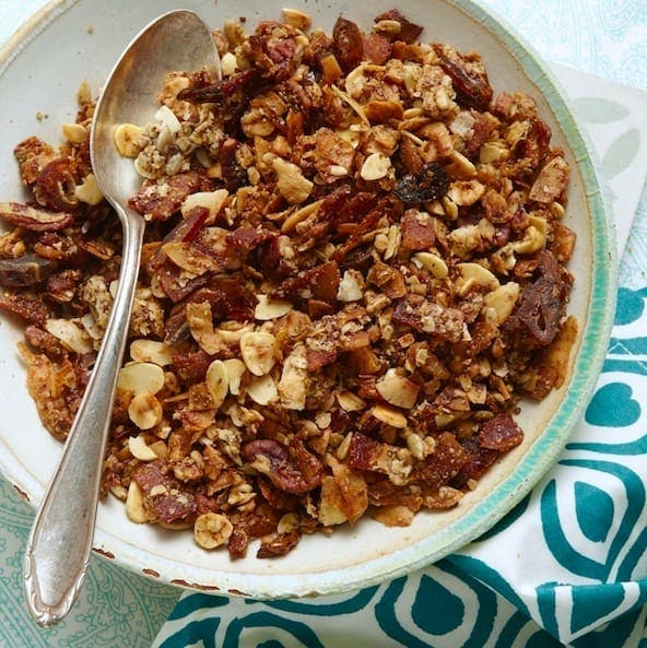 Crunchy Bacon Granola puts bacon where it should be, in everything! This slightly sweet, nutty granola is your new brunch go-to.