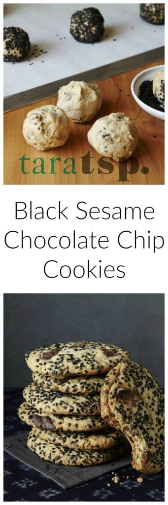 Pinterest image for Black Sesame Chocolate Chip Cookies with text