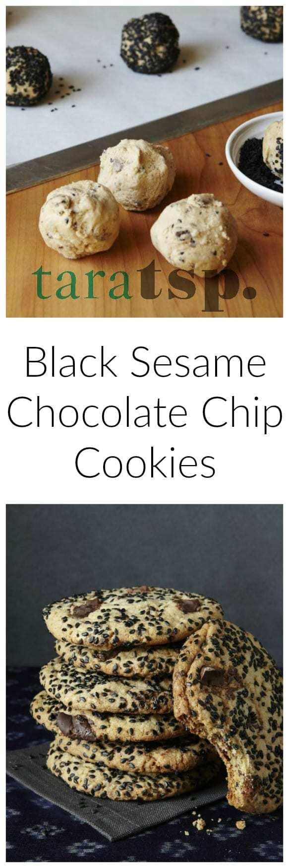 salty sesame dark chocolate cookies