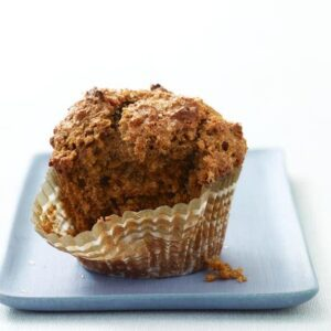 World's Best Bran Muffin on blue plate