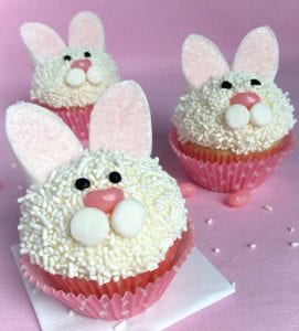 Three Bunny Cupcakes on pink surface