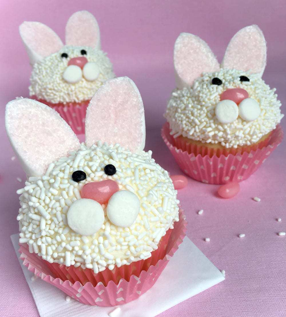 Easter Bunny Cupcakes on pink background