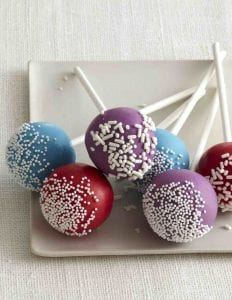Cake pops on white plate