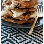 Pinterest image for Carrot Cake Pancakes with Cream Cheese Frosting with text