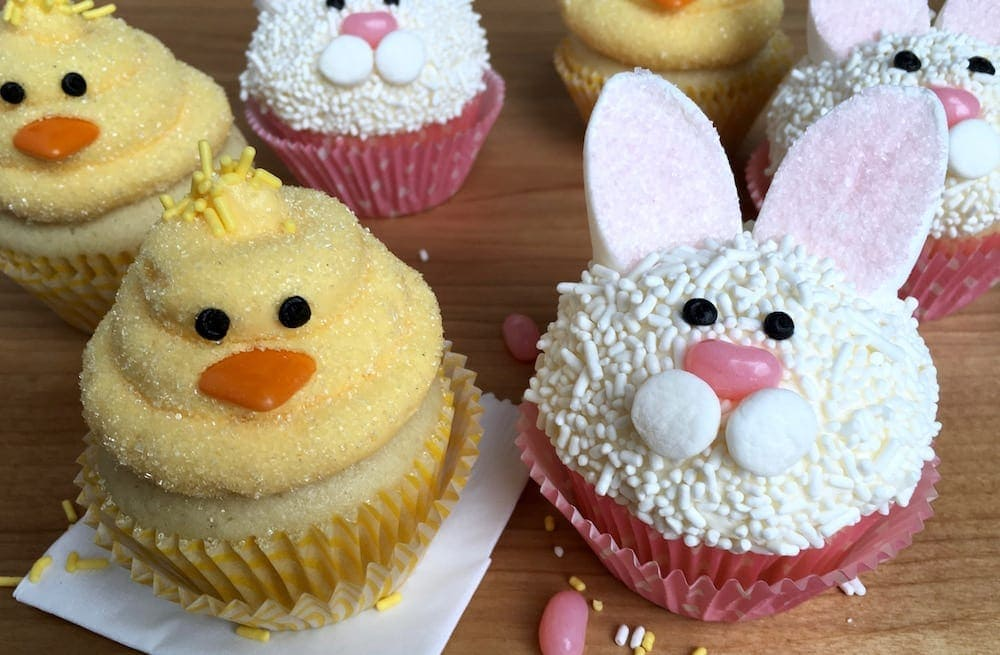 Easter Bunny and Chick Cupcakes