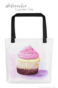 watercolor cupcake tote