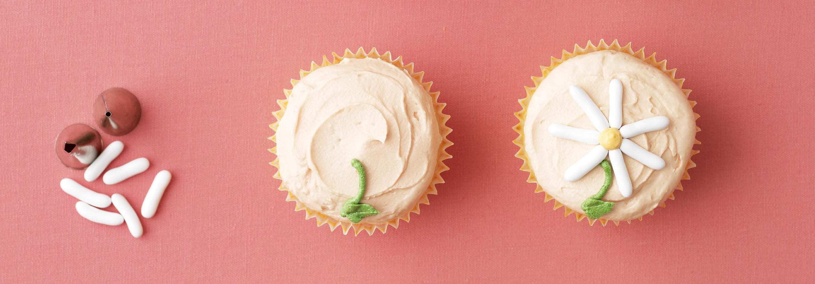 Daisy Cupcakes decorating ingredients and icing tips
