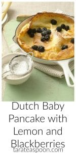 Pinterest image for Dutch Baby Pancake with Lemon and Blackberries with text
