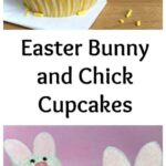 Pinterest image for Easter Bunny and Chick cupcakes with text