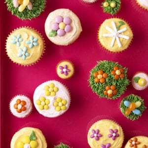 Easter Cupcakes decorated with flowers and candies