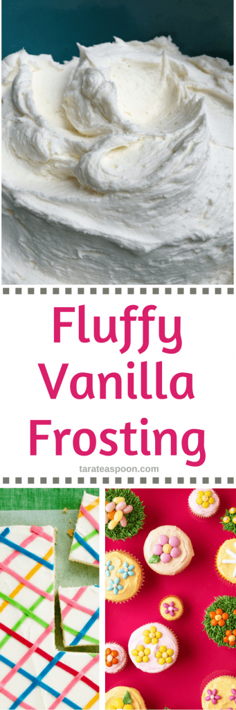 Pinterest image for fluffy vanilla frosting with text