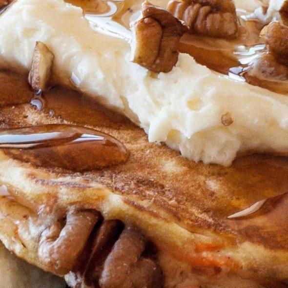 Close up image of carrot cake pancakes
