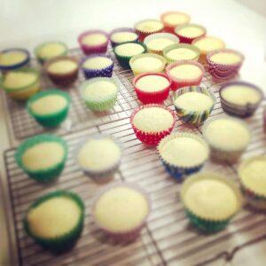 Baked vanilla cupcakes cooling on baking rack