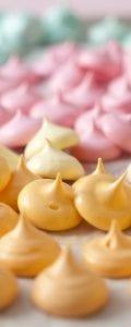 Pastel colored meringue bites
