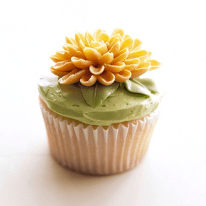 Vanilla Cupcake with flower made from icing on top