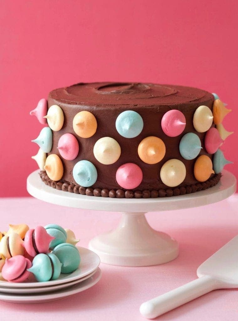 Polka Dot Cake With Meringue Kisses