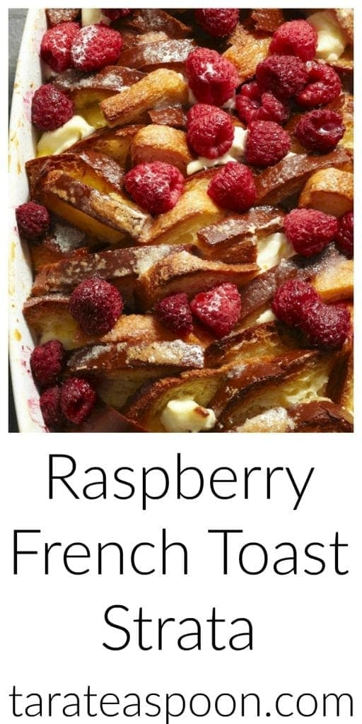 Pinterest image for Raspberry French Toast Strata with text