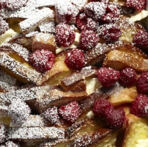Close up recipe image of Raspberry French Toast Strata