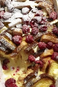 Close up image of Raspberry French Toast Strata