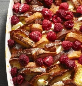 Close up of baked Raspberry French Toast Strata