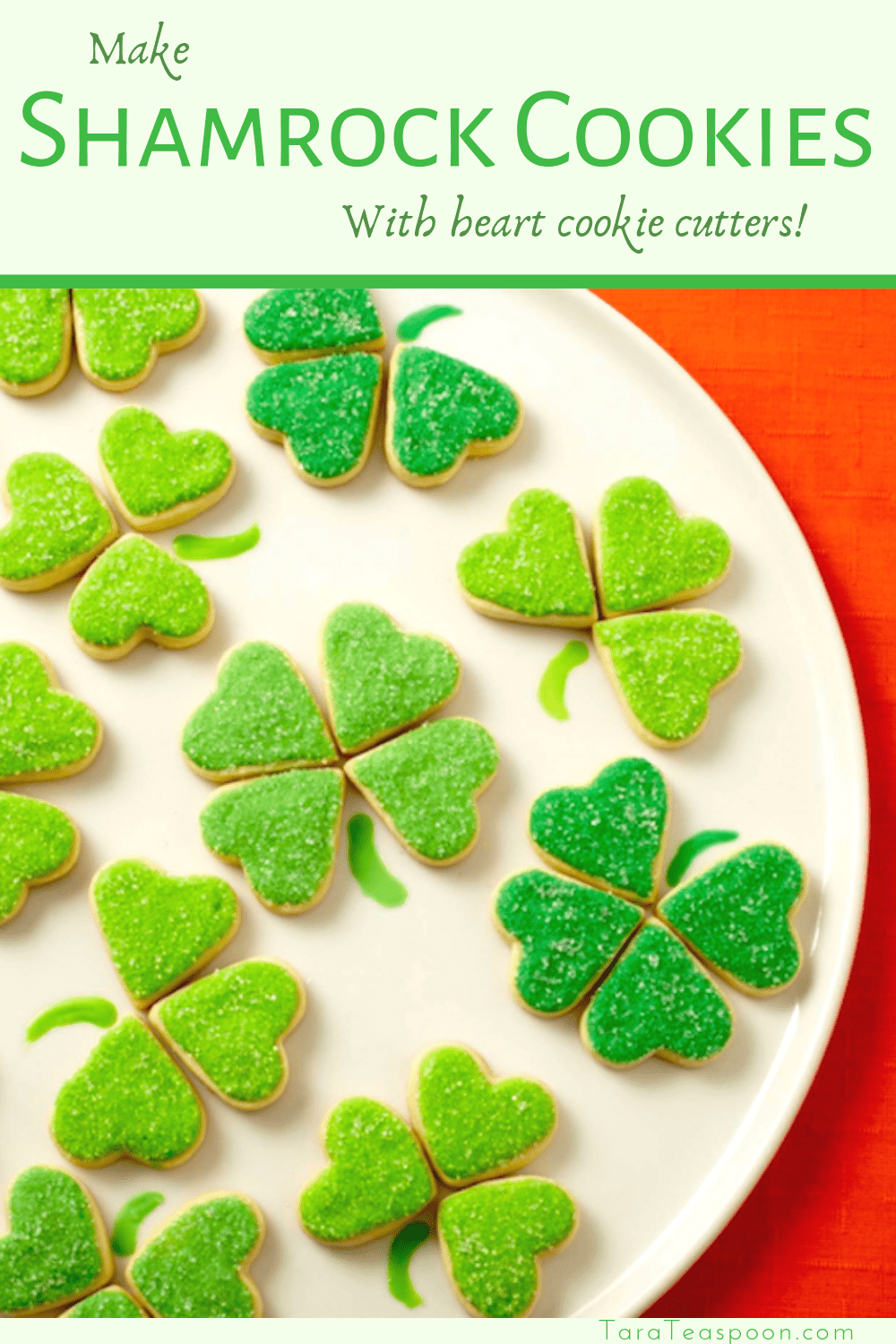 Make Shamrock Cookies with heart cookie cutters pin