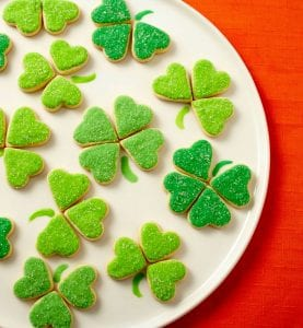 Bite sized Irish Heart Shamrock Cookies are the sweetest little treats you'll have on St. Patrick's Day.