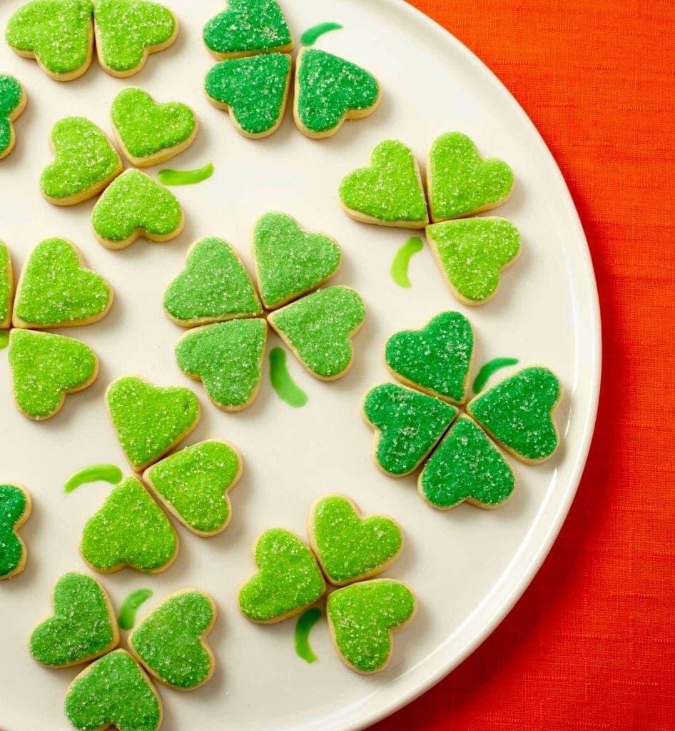 Irish Heart Shamrock Cookies