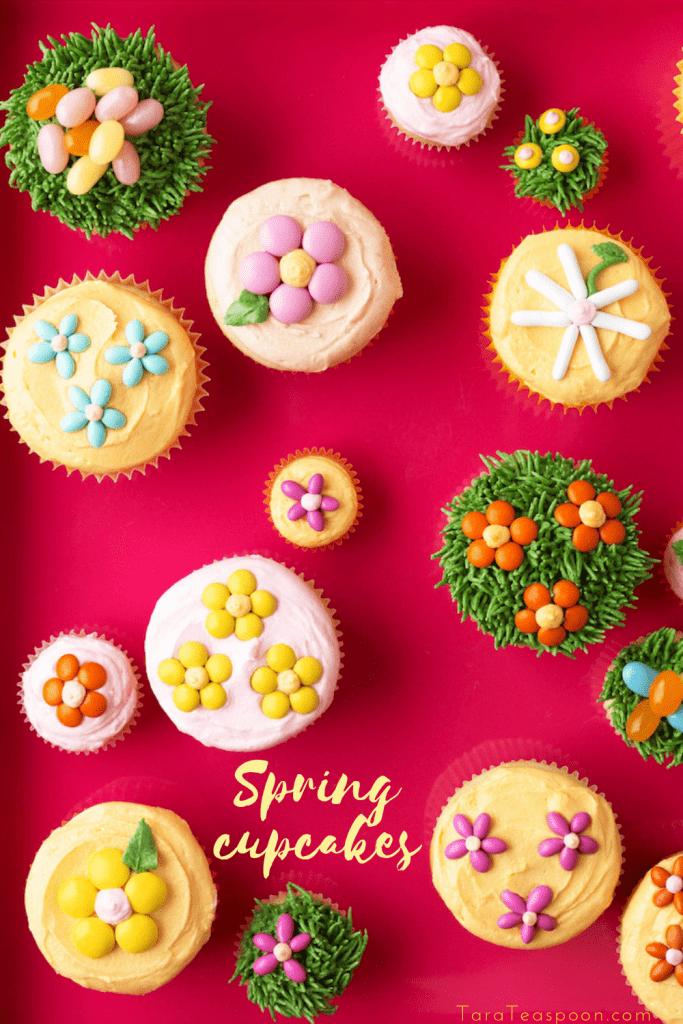 spring flower cupcakes pin