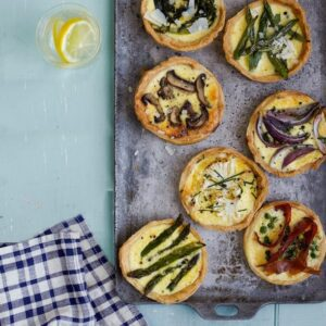 Spring Vegetable Tarts on metal tray